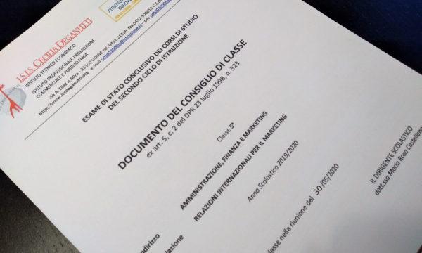 Esami di Stato 2020 – Documenti 15 maggio