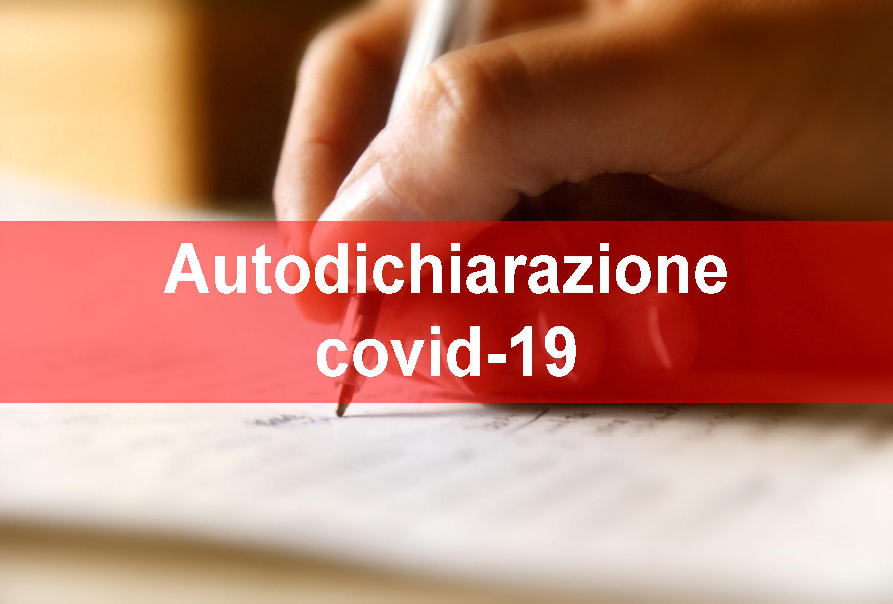 Autodichiarazione Covid-19 per utenti esterni, studenti maggiorenni e studenti minorenni