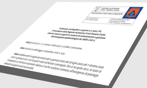 Ordinanza Regionale n. 3 del 31 gennaio 2021