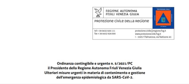 Ordinanza Regionale n. 5/2021 del 3 marzo 2021