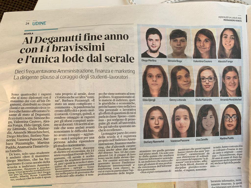 Articolo del Messaggero Veneto del 14-07-21